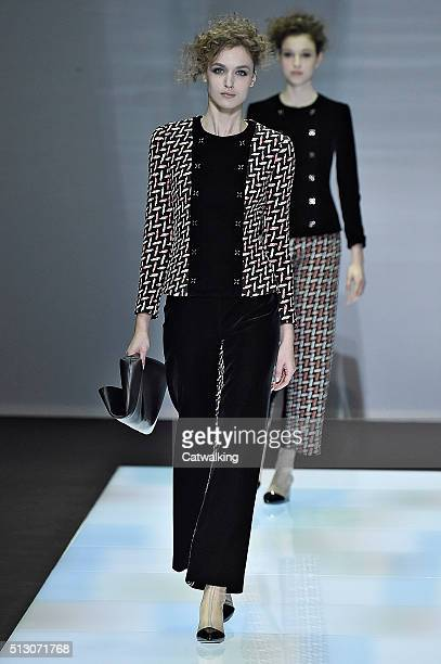 A model walks the runway at the Giorgio Armani Autumn Winter 2016 fashion show during Milan Fashion Week on February 29 2016 in Milan Italy