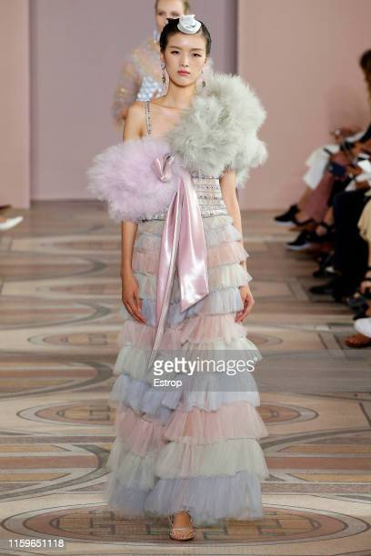 A model walks the runway at the Giorgio Armani Prive show during Paris Haute Couture Fall/Winter 2019/2020 on July 2 2019 in Paris France