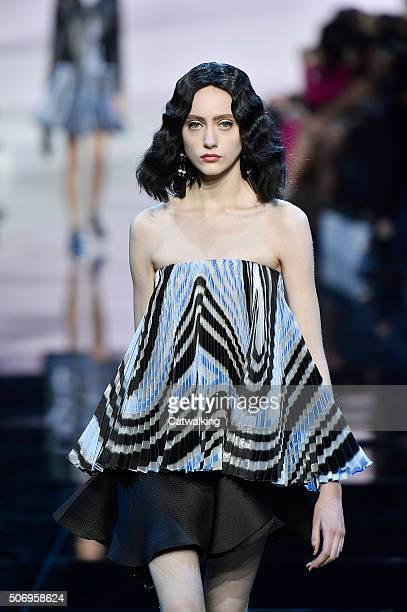 A model walks the runway at the Giorgio Armani Prive Spring Summer 2016 fashion show during Paris Haute Couture Fashion Week on January 26 2016 in...