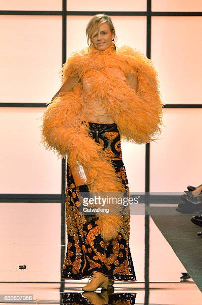 Model walks the runway at the Giorgio Armani Prive Spring Summer 2017 fashion show during Paris Haute Couture Fashion Week on January 24, 2017 in...
