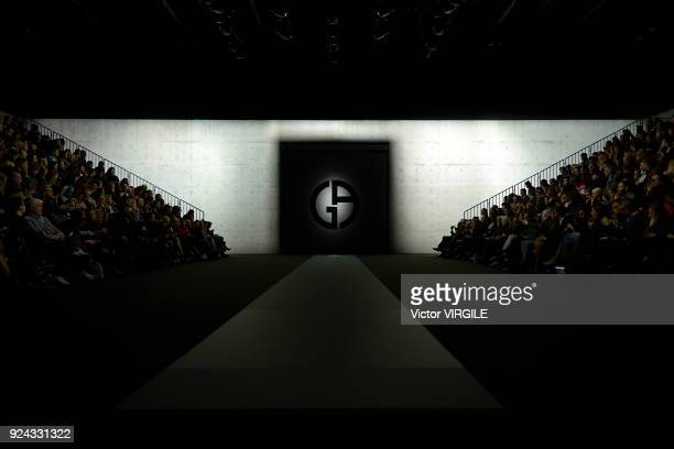 A model walks the runway at the Giorgio Armani Ready to Wear Fall/Winter 20182019 fashion show during Milan Fashion Week Fall/Winter 2018/19 on...