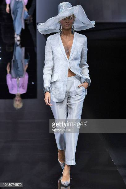 A model walks the runway at the Giorgio Armani Ready to Wear fashion show during Milan Fashion Week Spring/Summer 2019 on September 23 2018 in Milan...
