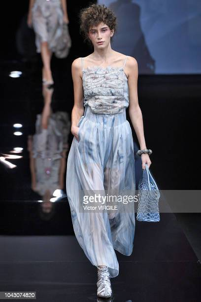 Fashion designer Giorgio Armani walks the runway at the Giorgio Armani Ready to Wear fashion show during Milan Fashion Week Spring/Summer 2019 on...