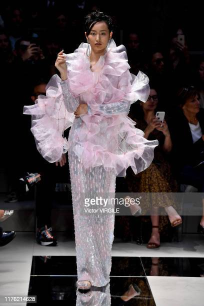 A model walks the runway at the Giorgio Armani Ready to Wear fashion show during the Milan Fashion Week Spring/Summer 2020 on September 21 2019 in...