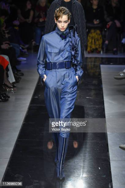 Model walks the runway at the Giorgio Armani show at Milan Fashion Week Autumn/Winter 2019/20 on February 23, 2019 in Milan, Italy.
