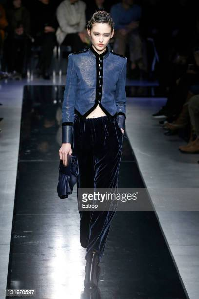 A model walks the runway at the Giorgio Armani show at Milan Fashion Week Autumn/Winter 2019/20 on February 20 2019 in Milan Italy