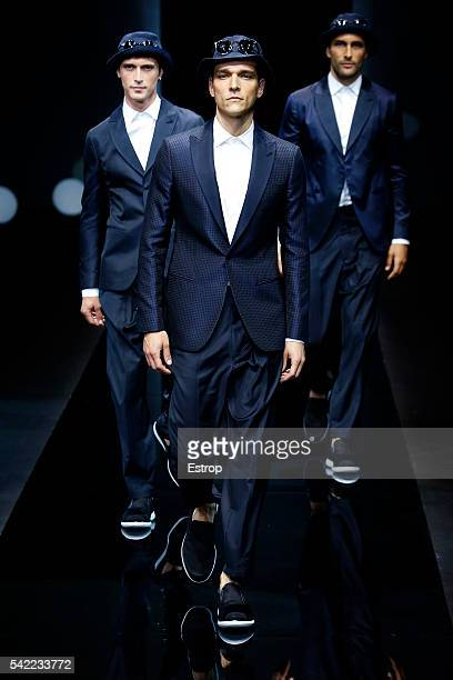 A model walks the runway at the Giorgio Armani show during Milan Men's Fashion Week SS17 on June 21 2016 in Milan Italy