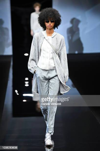 A model walks the runway at the Giorgio Armani show during Milan Fashion Week Spring/Summer 2019 on September 23 2018 in Milan Italy