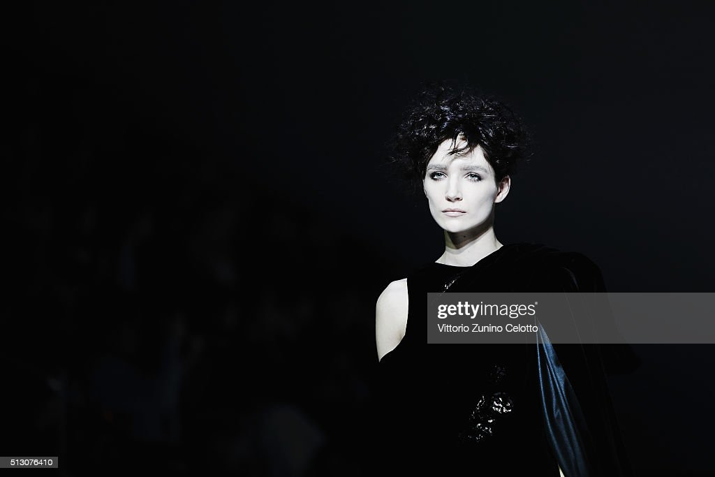 A model walks the runway at the Giorgio Armani show during Milan Fashion Week Fall/Winter 2016/17 on February 29, 2016 in Milan, Italy.