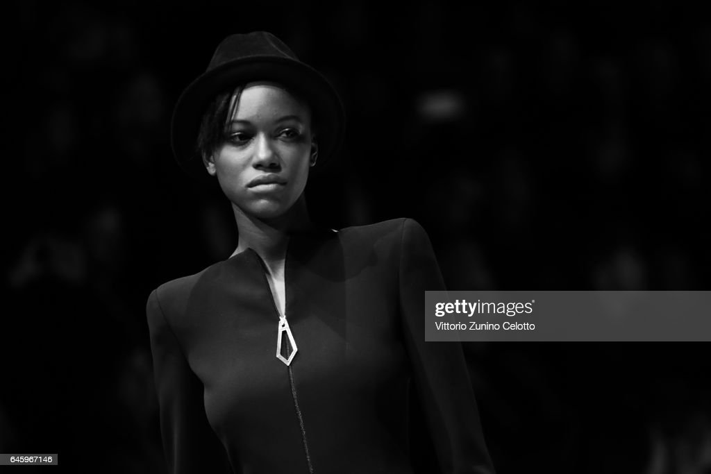 A model walks the runway at the Giorgio Armani show during Milan Fashion Week Fall/Winter 2017/18 on February 27, 2017 in Milan, Italy.