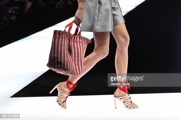 A model walks the runway at the Giorgio Armani show during Milan Fashion Week Spring/Summer 2018 on September 22 2017 in Milan Italy