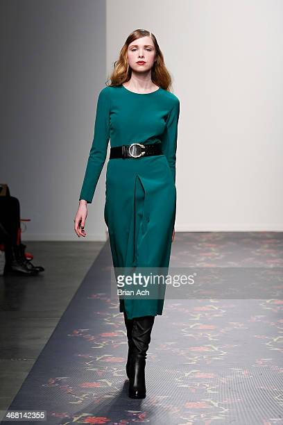 A model walks the runway at the Giulette fashion show during MercedesBenz Fashion Week Fall 2014 at Pier 59 on February 9 2014 in New York City