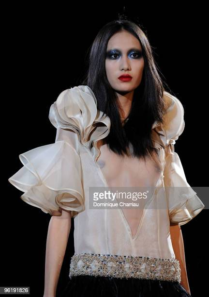 Model walks the runway at the Givenchy Haute-Couture show as part of the Paris Fashion Week Spring/Summer 2010 on January 26, 2010 in Paris, France.