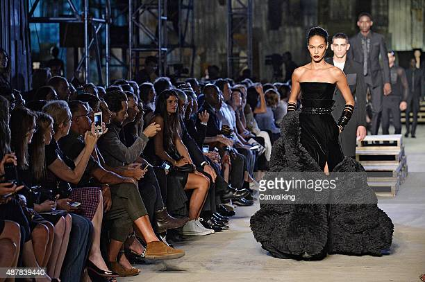 A model walks the runway at the Givenchy Spring Summer 2016 fashion show during New York Fashion Week on September 11 2015 in New York United States