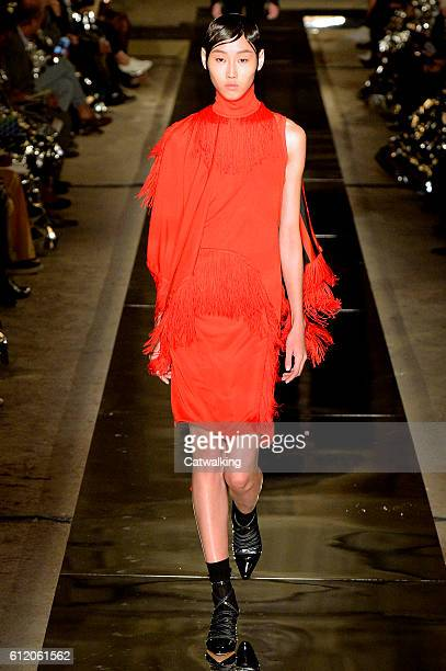 A model walks the runway at the Givenchy Spring Summer 2017 fashion show during Paris Fashion Week on October 2 2016 in Paris France