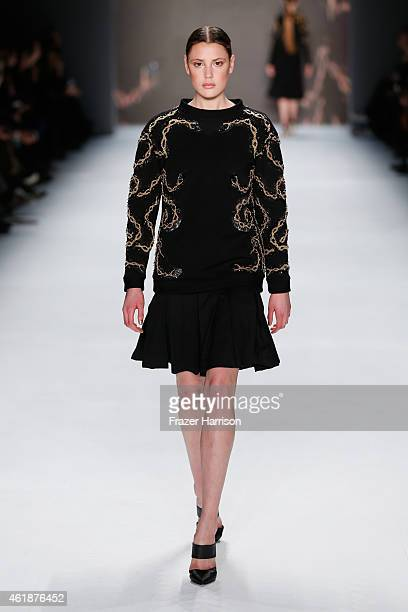 Model walks the runway at the Glaw show during the Mercedes-Benz Fashion Week Berlin Autumn/Winter 2015/16 at Brandenburg Gate on January 21, 2015 in...
