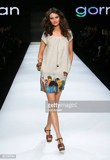 Model walks the runway at the Gorman showcase of the David Jones group show during the inaugural Rosemount Sydney Fashion Festival 2008 at Martin...