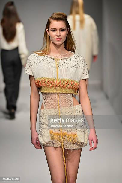 A model walks the runway at the Greenshowroom show during the MercedesBenz Fashion Week Berlin Autumn/Winter 2016 at Postbahnhof on January 19 2016...