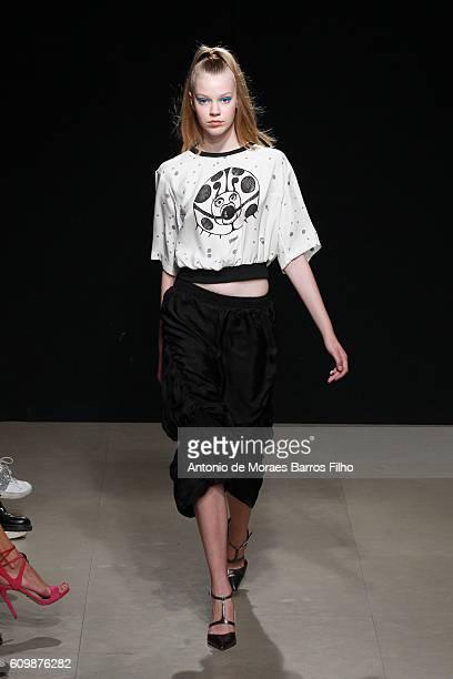 Model walks the runway at the Grinko show during Milan Fashion Week Spring/Summer 2017 on September 21, 2016 in Milan, Italy.