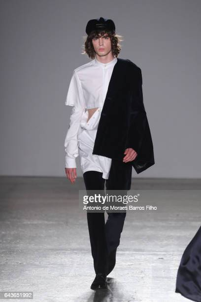 A model walks the runway at the Grinko show during Milan Fashion Week Fall/Winter 2017/18 on February 22 2017 in Milan Italy