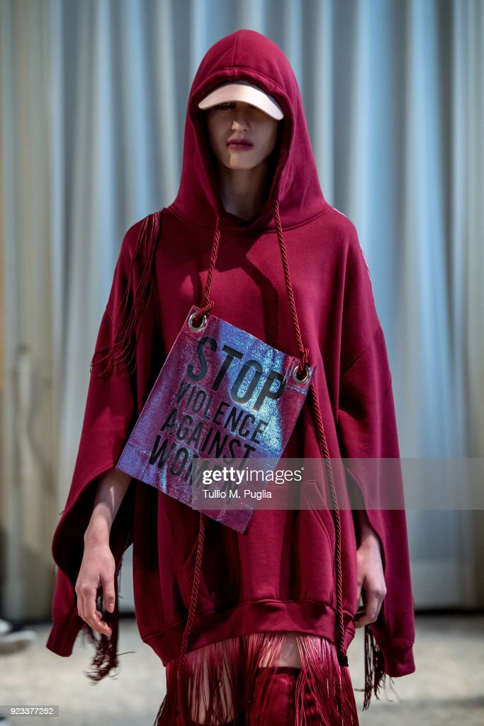 A model walks the runway at the Grinko show during Milan Fashion Week Fall/Winter 2018/19 on February 23, 2018 in Milan, Italy.