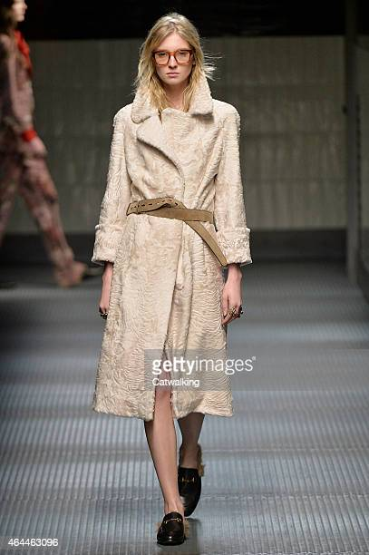 Model walks the runway at the Gucci Autumn Winter 2015 fashion show during Milan Fashion Week on February 25, 2015 in Milan, Italy.