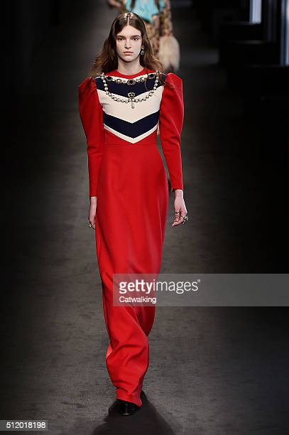 A model walks the runway at the Gucci Autumn Winter 2016 fashion show during Milan Fashion Week on February 24 2016 in Milan Italy