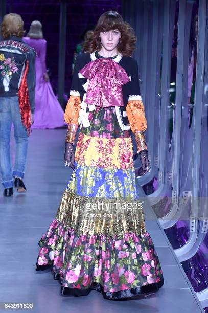 A model walks the runway at the Gucci Autumn Winter 2017 fashion show during Milan Fashion Week on February 22 2017 in Milan Italy