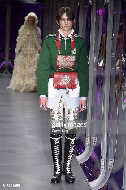 Model walks the runway at the Gucci Autumn Winter 2017 fashion show during Milan Fashion Week on February 22, 2017 in Milan, Italy.