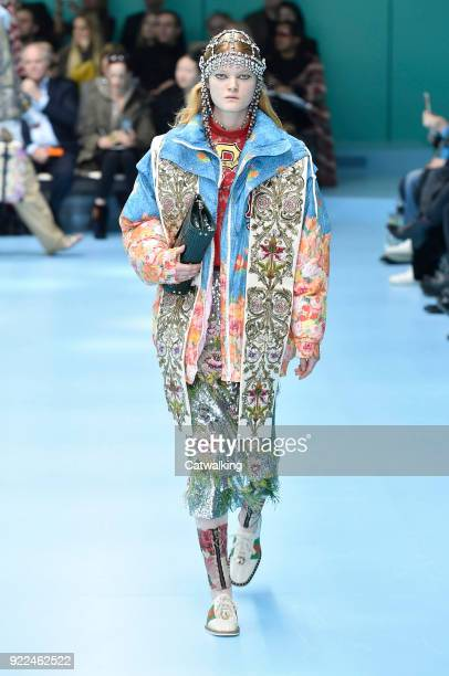 A model walks the runway at the Gucci Autumn Winter 2018 fashion show during Milan Fashion Week on February 21 2018 in Milan Italy
