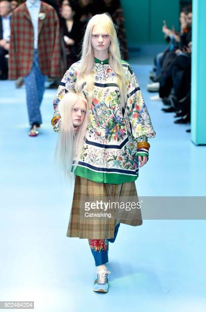 Model walks the runway at the Gucci Autumn Winter 2018 fashion show during Milan Fashion Week on February 21, 2018 in Milan, Italy.