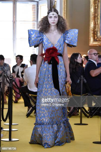 Model walks the runway at the Gucci Cruise 2018 show at Palazzo Pitti on May 29, 2017 in Florence, Italy.