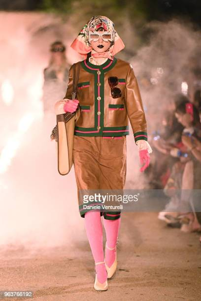 Model walks the runway at the Gucci Cruise 2019 show at Alyscamps on May 30, 2018 in Arles, France.