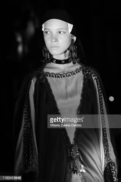 Model walks the runway at the Gucci Cruise 2020 on at Musei Capitolini on May 28, 2019 in Rome, Italy.