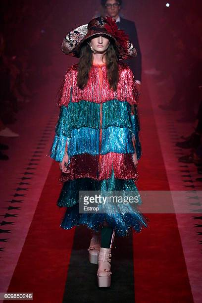 A model walks the runway at the Gucci designed by Alessandro Michele show Milan Fashion Week Spring/Summer 2017 on September 21 2016 in Milan Italy