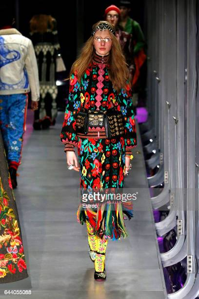 A model walks the runway at the Gucci designed by Alessandro Michele show during Milan Fashion Week Fall/Winter 2017/18 on February 22 2017 in Milan...