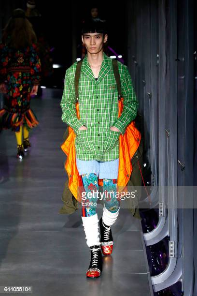 Model walks the runway at the Gucci designed by Alessandro Michele show during Milan Fashion Week Fall/Winter 2017/18 on February 22, 2017 in Milan,...