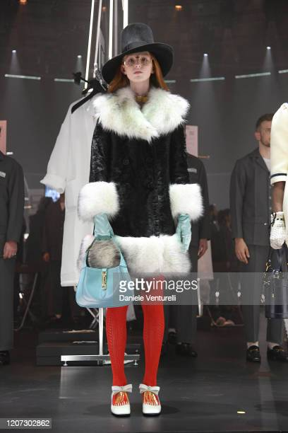 Model walks the runway at the Gucci Fall/Winter 2020/21 fashion show during Milan Fashion Week on February 19, 2020 in Milan, Italy.