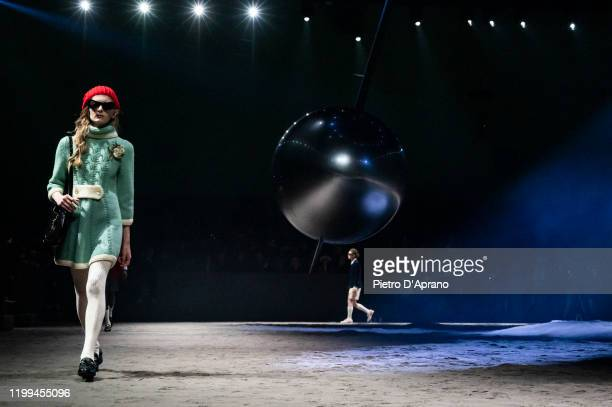 Model walks the runway at the Gucci fashion show on January 14, 2020 in Milan, Italy.