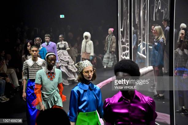 Model walks the runway at the Gucci Ready to Wear Fall/Winter 2020-2021 fashion show during Milan Fashion Week on February 19, 2020 in Milan, Italy.
