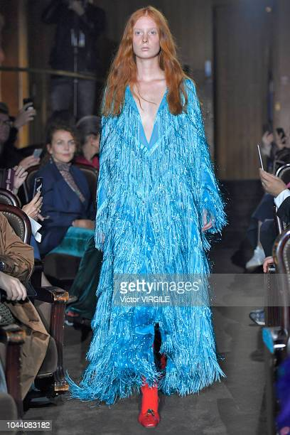 A model walks the runway at the Gucci Ready to Wear fashion show during Paris Fashion Week Spring/Summer 2019 on September 24 2018 in Paris France