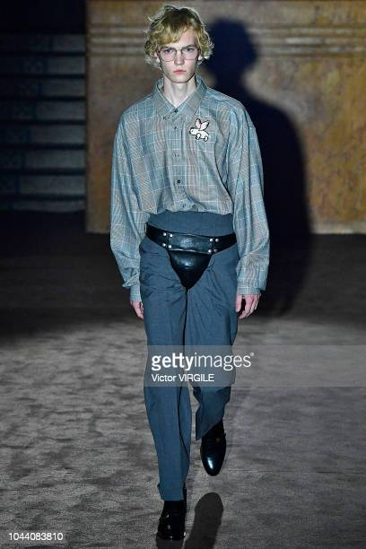 Model walks the runway at the Gucci Ready to Wear fashion show during Paris Fashion Week Spring/Summer 2019 on September 24, 2018 in Paris, France.