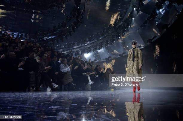 Model walks the runway at the Gucci show during Milan Fashion Week Autumn/Winter 2019/20 on February 20, 2019 in Milan, Italy.