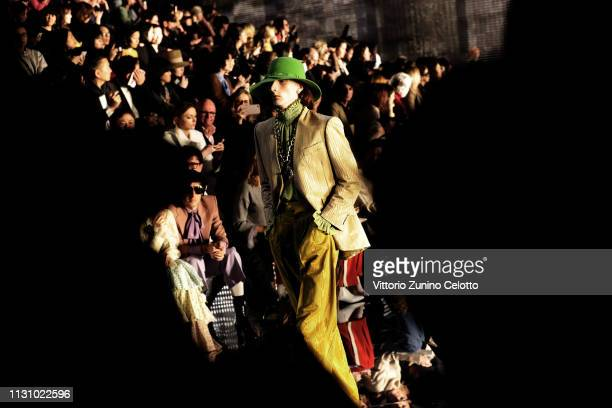 A model walks the runway at the Gucci show during Milan Fashion Week Autumn/Winter 2019/20 on February 20 2019 in Milan Italy