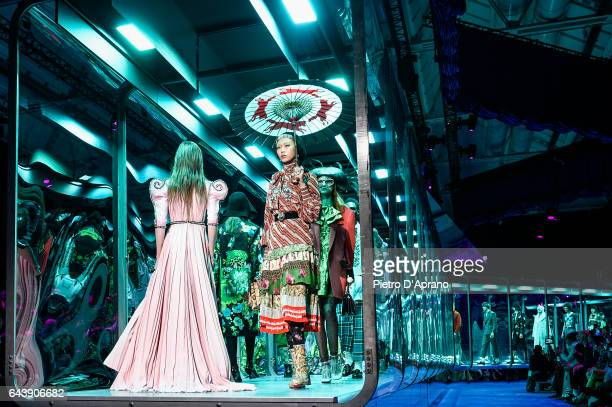 A model walks the runway at the Gucci show during Milan Fashion Week Fall/Winter 2017/18 on February 22 2017 in Milan Italy