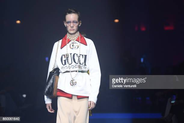 Model walks the runway at the Gucci show during Milan Fashion Week Spring/Summer 2018 on September 20, 2017 in Milan, Italy.