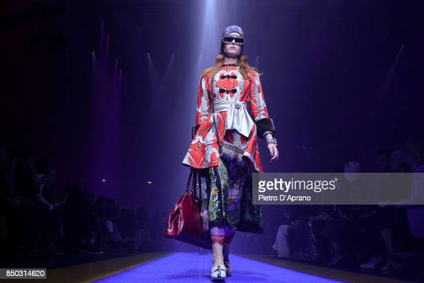 A model walks the runway at the Gucci show during Milan Fashion Week Spring/Summer 2018 on September 20 2017 in Milan Italy