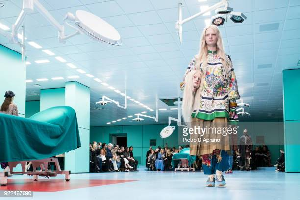 A model walks the runway at the Gucci show during Milan Fashion Week Fall/Winter 2018/19 on February 21 2018 in Milan Italy