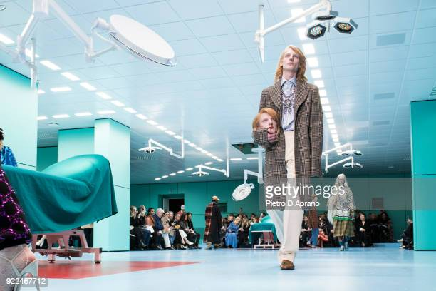 Model walks the runway at the Gucci show during Milan Fashion Week Fall/Winter 2018/19 on February 21, 2018 in Milan, Italy.