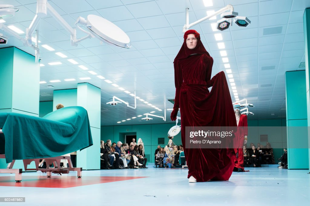 A model walks the runway at the Gucci show during Milan Fashion Week Fall/Winter 2018/19 on February 21, 2018 in Milan, Italy.